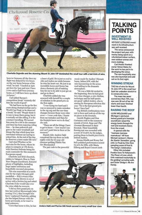 Horse & Hound March 2019 Charlotte & VIP dominating the small tour