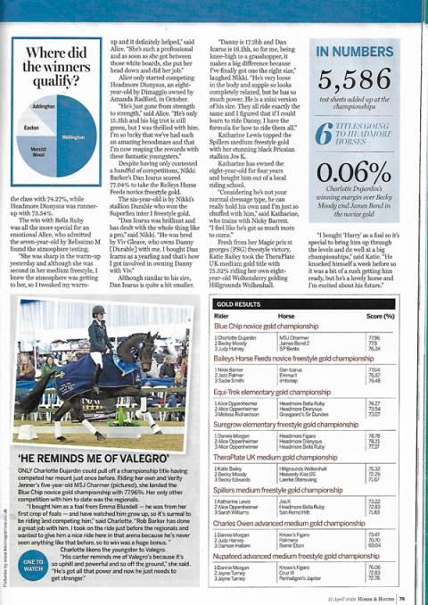 Horse & Hound April 2019 Charlotte Dujardin--MSJ Charmer winning Blue chip novice gold Championshi