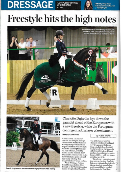 British Dressage issue 7 2019 Charlotte  Mount St John Valencia winning Inter Freestyle gold