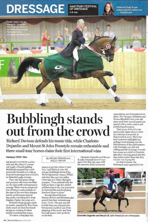 Horse &Hound July 2018 Charlotte & Freestyle remain unbeatable