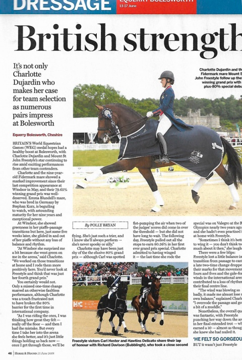 Horse & Hound June 2018 Charlotte & Freestyle winning Bolesworth