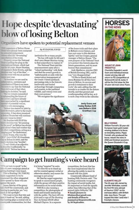 Horse & Hound May 2019 Freestyle back at Bolesworth