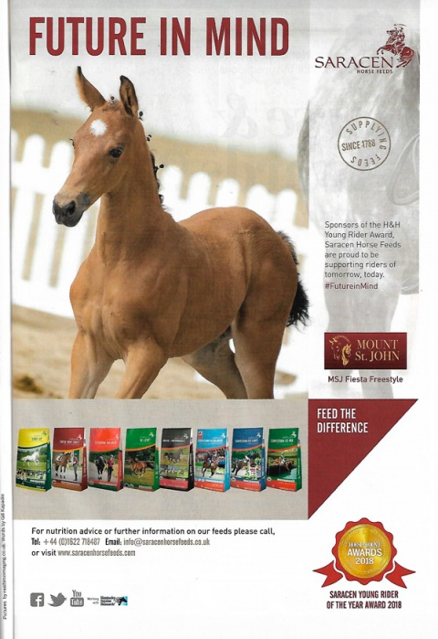 Horse & Hound August 2018 Saracen Feed advert MSJ Fiesta Freestyle